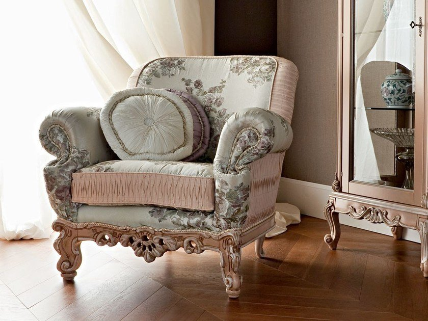Upholstered fabric armchair with armrests 12423 | Armchair by Modenese Gastone