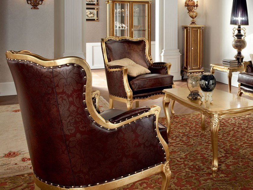 Upholstered leather armchair with armrests 12426 | Armchair by Modenese Gastone