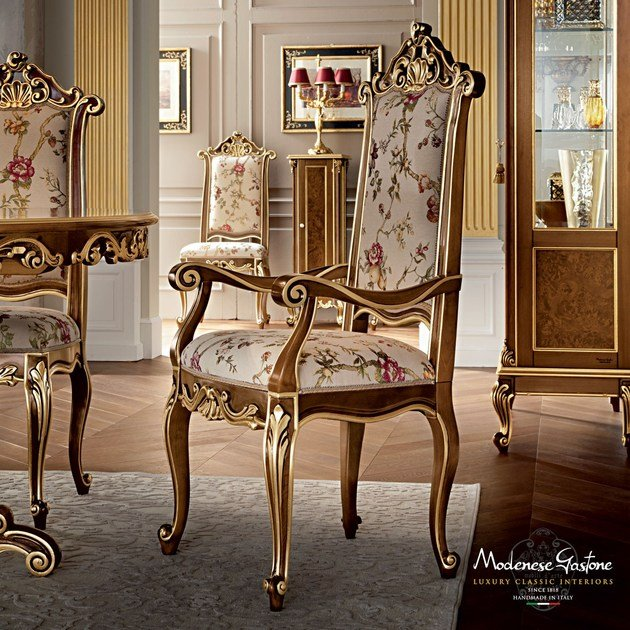 Upholstered solid wood chair with armrests 12502 | Chair with armrests by Modenese Gastone