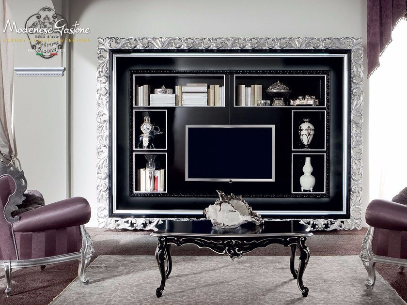 Open wall-mounted bookcase with TV stand 13129   Bookcase by Modenese Gastone