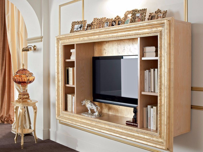 Open wall-mounted bookcase with TV stand 13131   Bookcase by Modenese Gastone