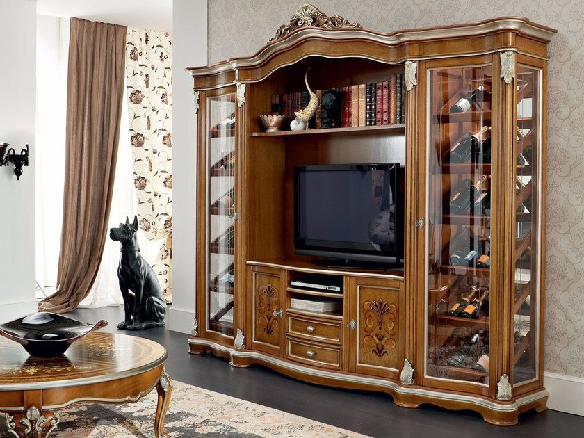 Baroque wooden highboard with doors with drawers 13134 | Highboard by Modenese Gastone