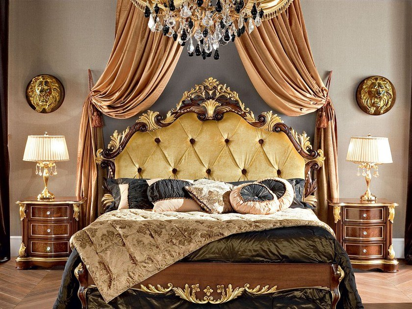 Double bed with high headboard with tufted headboard 13201 | Bed by Modenese Gastone