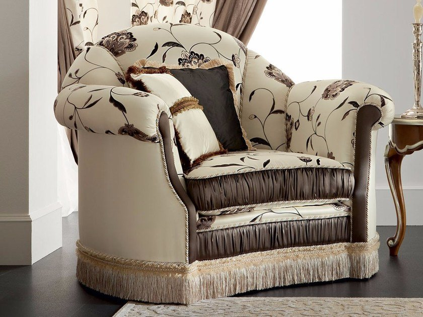 Baroque upholstered fabric armchair with armrests 13404 | Armchair by Modenese Gastone