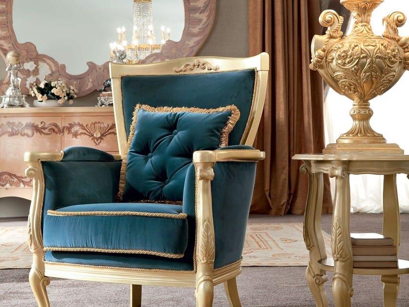 Velvet armchair with armrests 13427 | Armchair by Modenese Gastone