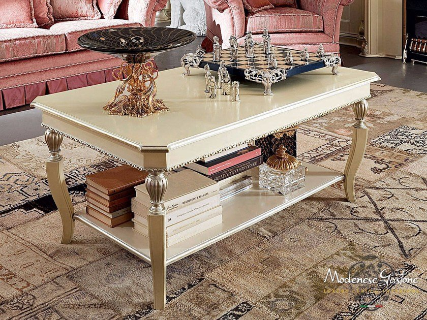 Rectangular coffee table with integrated magazine rack for living room 13652 | Coffee table by Modenese Gastone