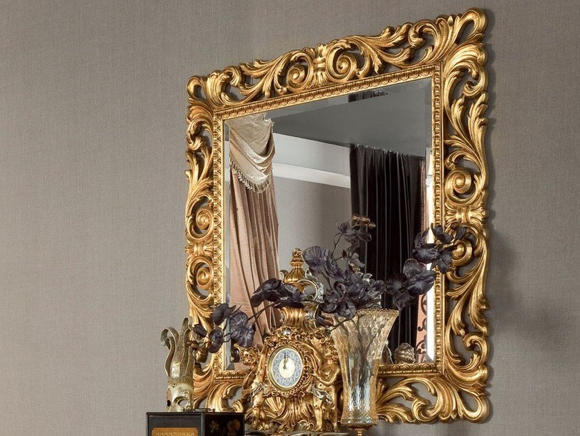 Square wall-mounted framed mirror 13673 | Mirror by Modenese Gastone