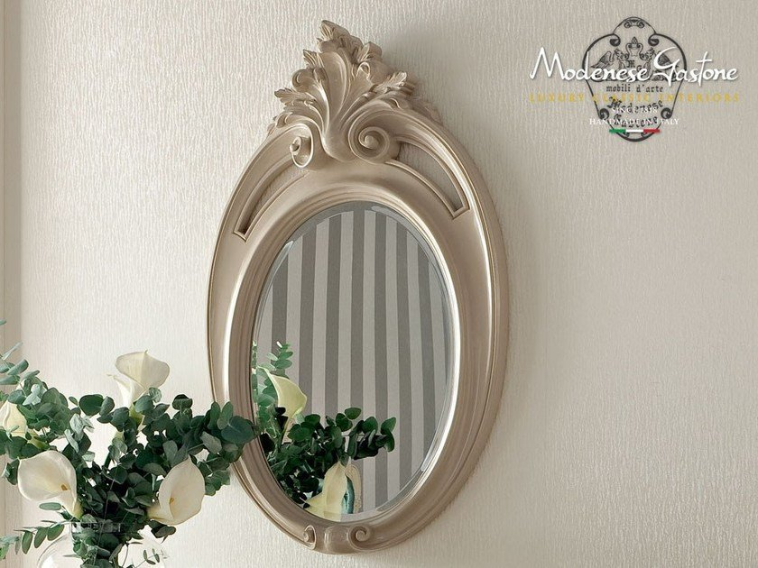 Baroque wall-mounted framed oval mirror 13676 | Mirror by Modenese Gastone