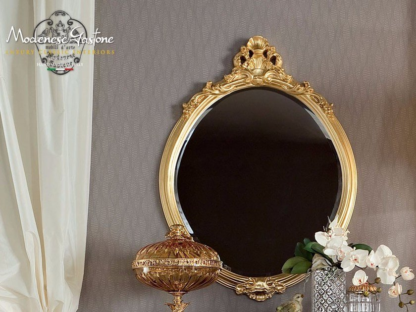 Oval wall-mounted framed mirror 13684 | Mirror by Modenese Gastone