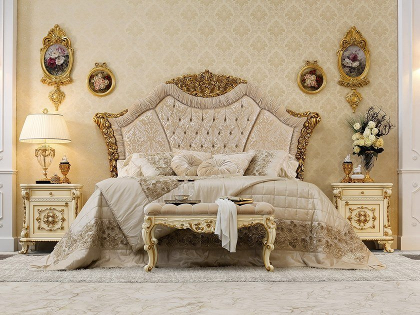 Double bed with upholstered headboard 14218   Double bed by Modenese Gastone