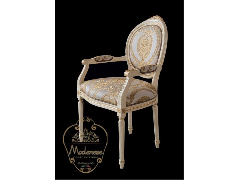Upholstered fabric chair with armrests 14533 | Chair with armrests by Modenese Gastone