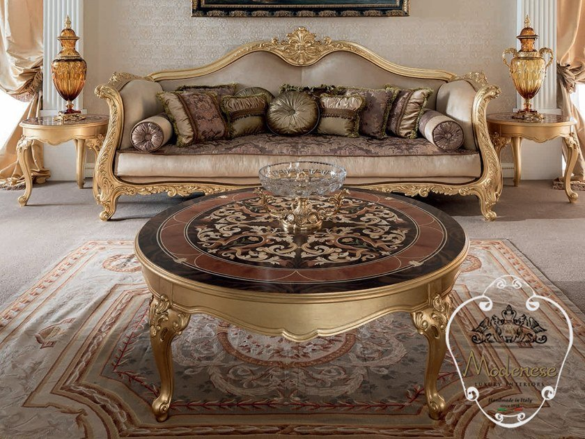 Low round wooden coffee table 14673 | Round coffee table by Modenese Gastone