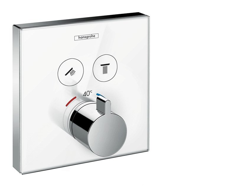 Recessed thermostatic shower mixer SHOWERSELECT GLASS | Recessed shower mixer by hansgrohe