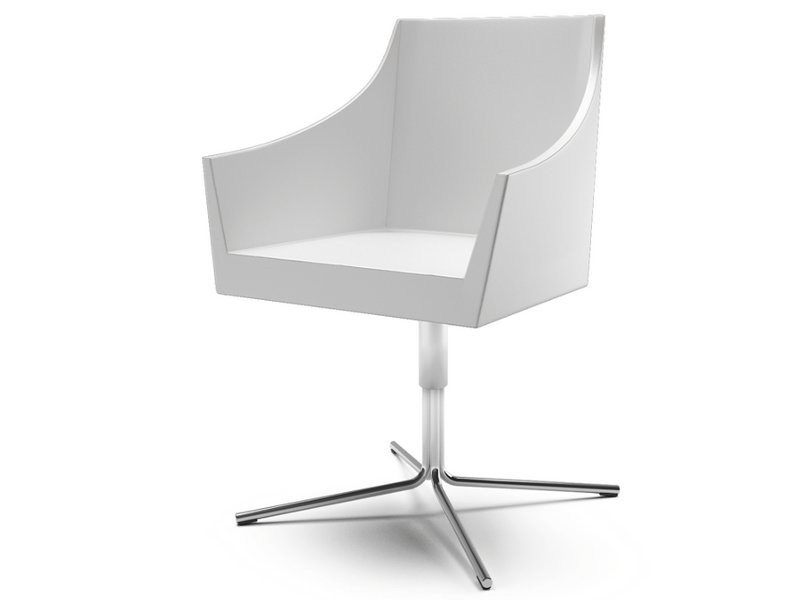 Swivel leather easy chair with 4-spoke base with armrests NOSS | Easy chair with 4-spoke base by Cizeta L'Abbate