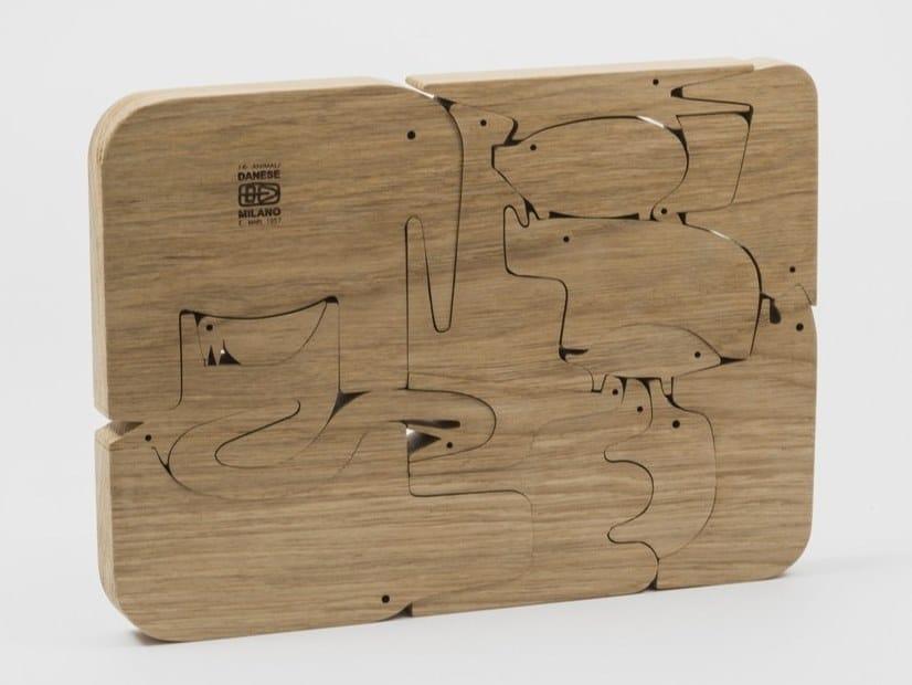 Puzzle componibile in legno massello di rovere 16 ANIMALI by Danese Milano