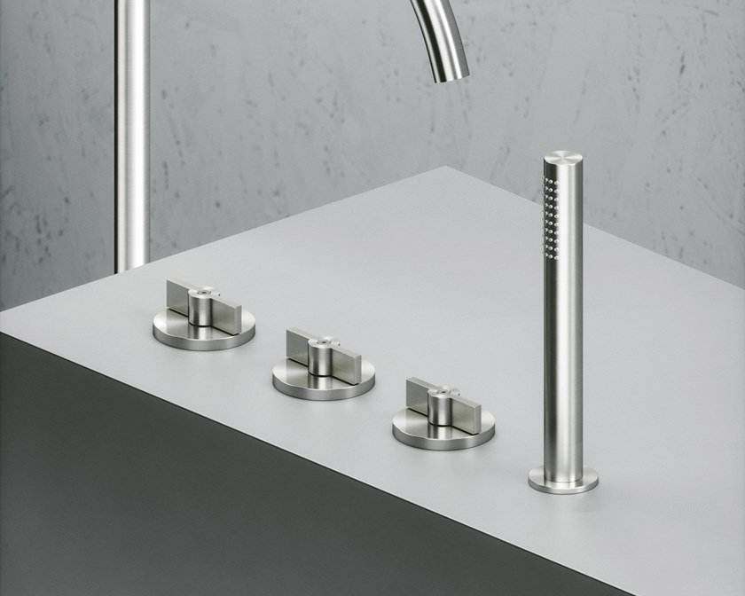 Robinet pour baignoire en acier inoxydable à cartouche progressive avec douchette Valvola01_19 99 by Quadrodesign