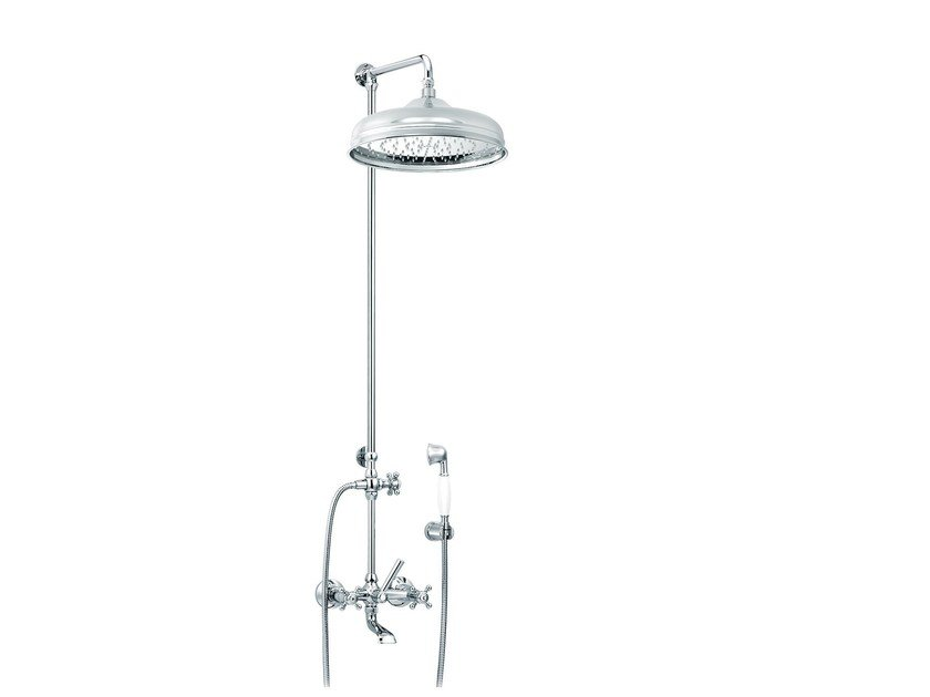 Wall-mounted brass shower panel with hand shower 1920-1921 | Wall-mounted shower panel by rvb