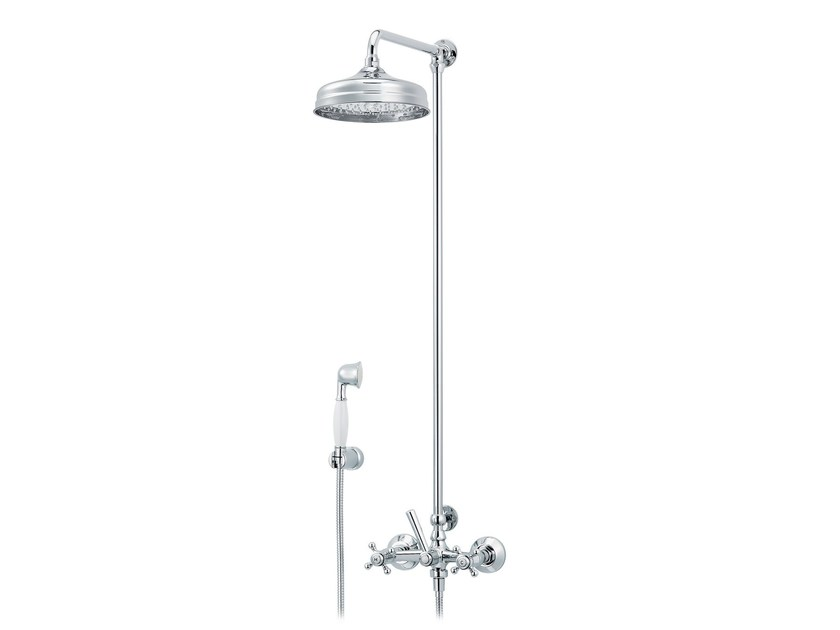 Wall-mounted thermostatic shower panel with overhead shower 1920-1921 | Shower panel with overhead shower by rvb