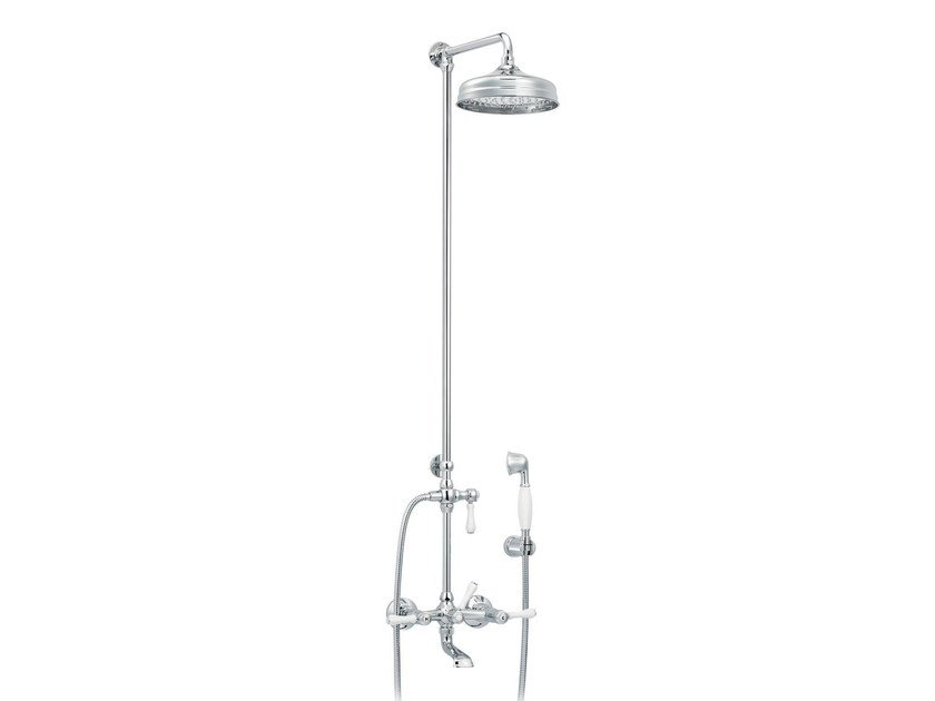 Wall-mounted brass shower panel with overhead shower 1935 LIMOGES | Shower panel with hand shower by rvb
