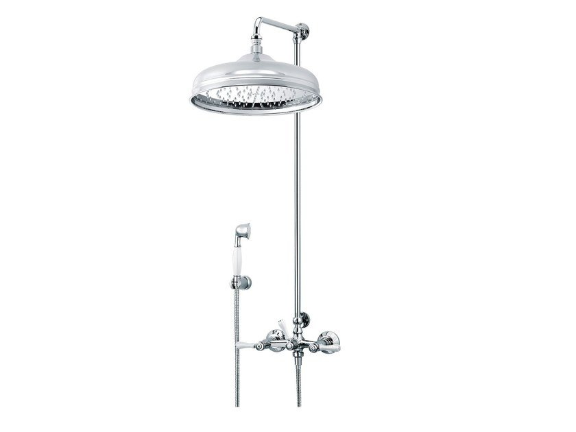 Wall-mounted shower panel with hand shower with overhead shower 1935 LIMOGES | Shower panel with overhead shower by rvb