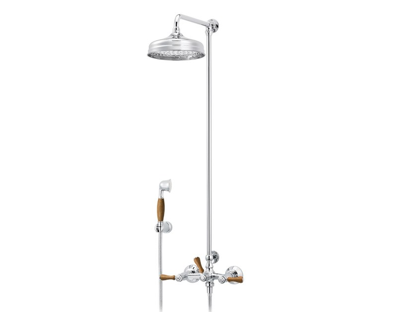 Wall-mounted brass shower panel with overhead shower 1935 WOOD | Wall-mounted shower panel by rvb