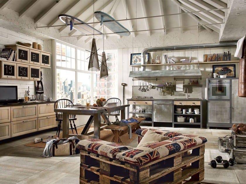 Cucine componibili in acciaio inox e legno stile moderno | Archiproducts