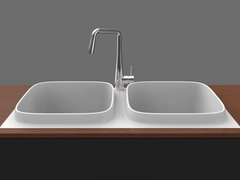 2 bowl built-in flush-mounted ceramic sink