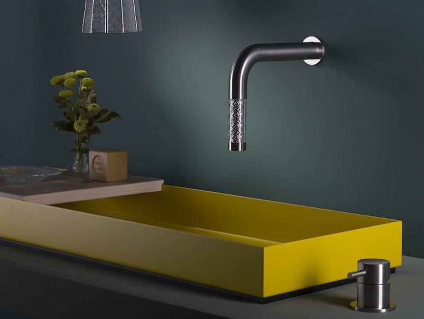 2 hole single handle Glass and Stainless Steel washbasin mixer REVITRUM | 2 hole washbasin mixer by MINA