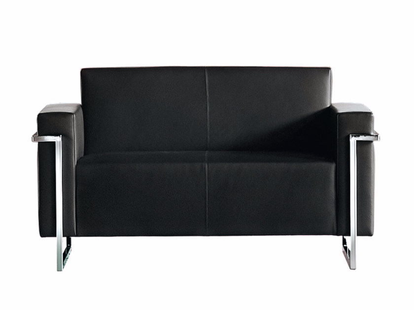 Sled base upholstered 2 seater sofa MEMORIA | 2 seater sofa by Luxy