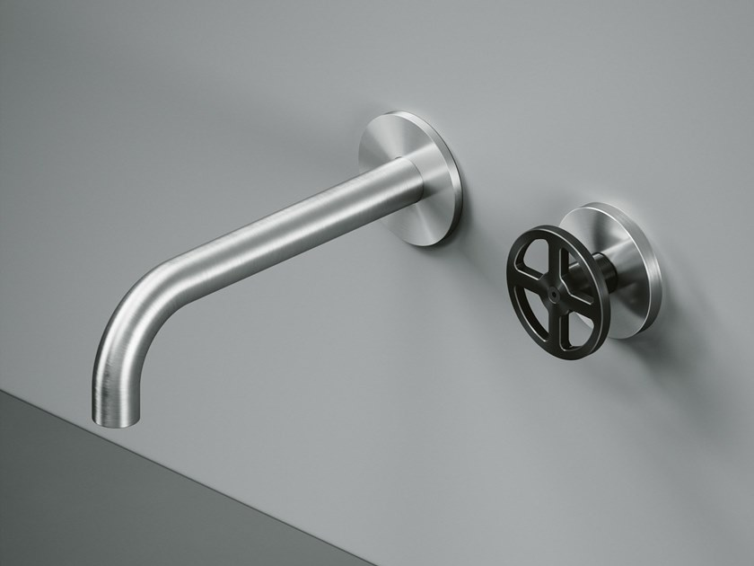 Wall-mounted hydroprogressive stainless steel washbasin mixer 20 11 by Quadrodesign