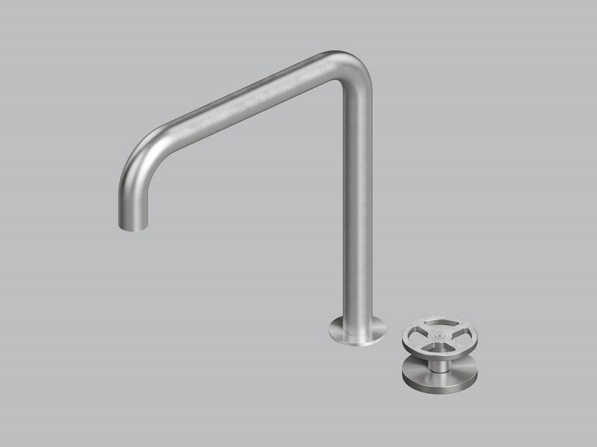 Hydroprogressive stainless steel washbasin mixer with adjustable spout 20 32 by Quadrodesign