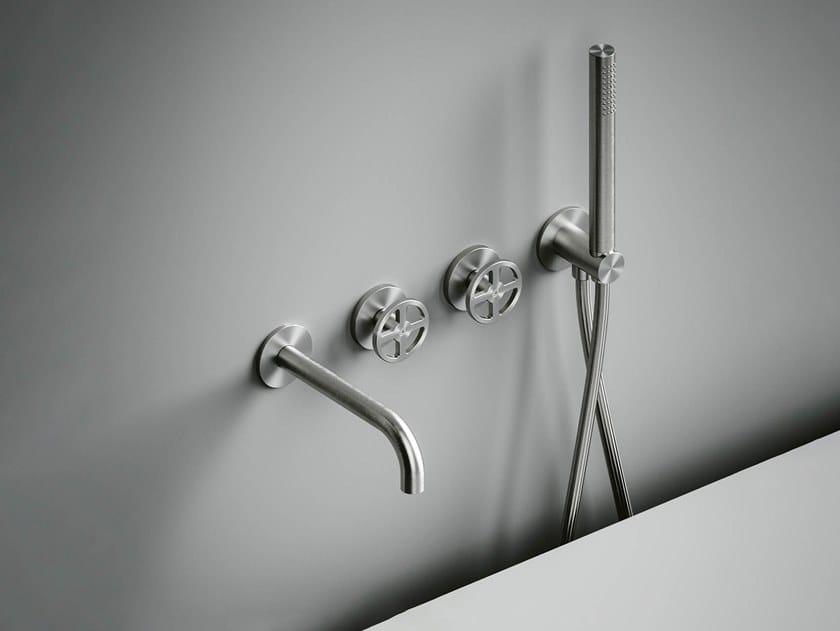 Set de bagnoire en acier inoxydable à cartouche progressive avec douchette Valvola02_20 69 by Quadrodesign