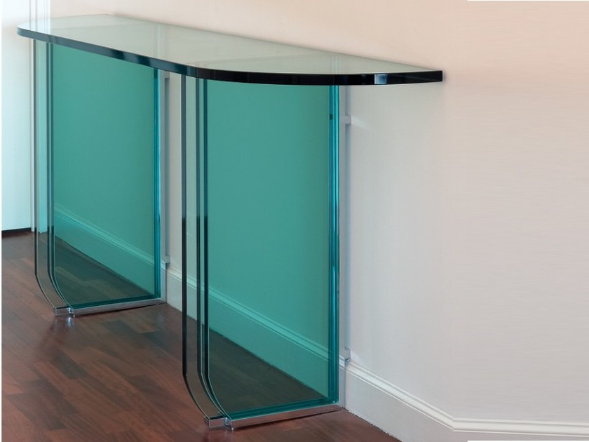 Rectangular glass console table 20 | Console table by Jean Perzel