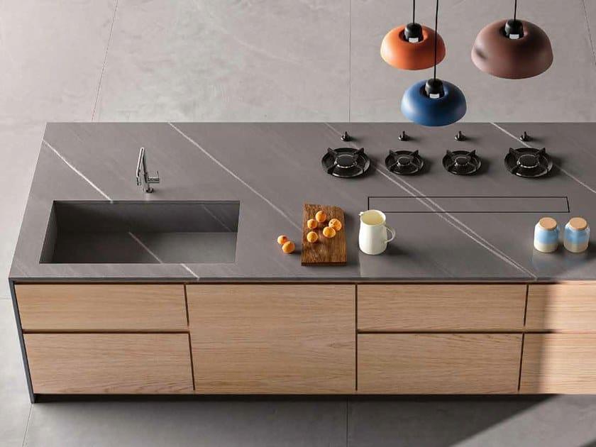 Top cucina in gres porcellanato effetto pietra 20pure ceramica fondovalle - Top cucina in ceramica ...