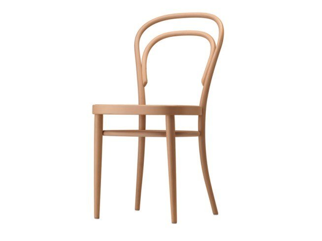 Wooden chair with moulded plywood seat 214 M by THONET