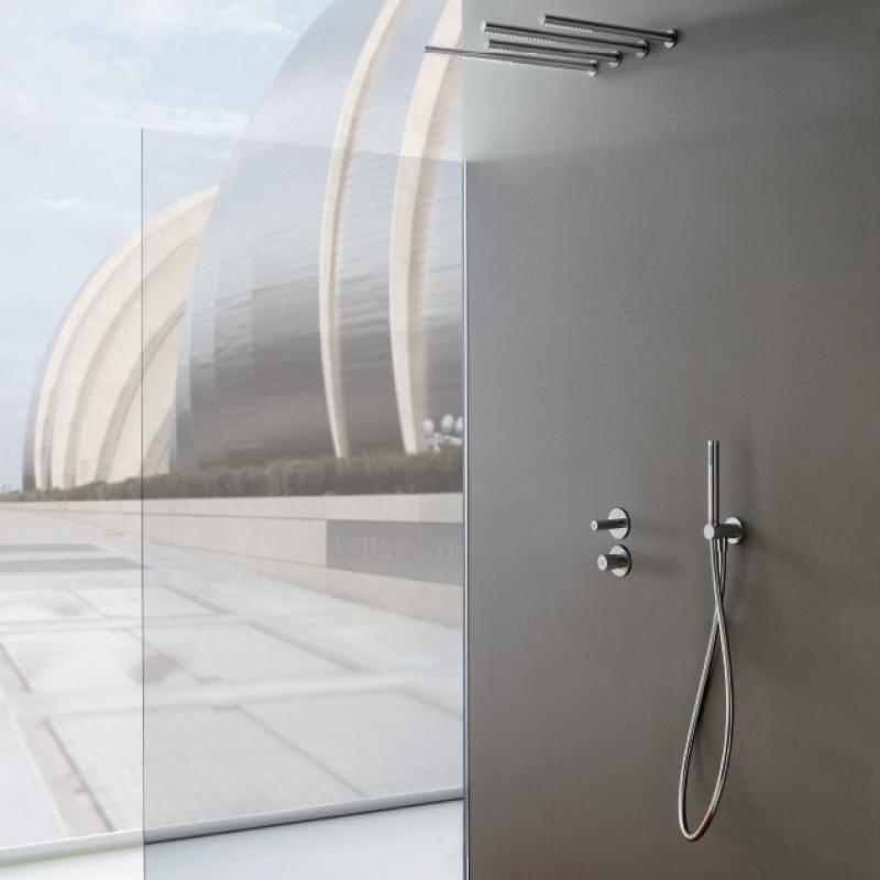 Miscelatore per doccia a 3 fori in acciaio inox con soffione 22MM | Miscelatore per doccia con soffione by Rubinetterie Treemme