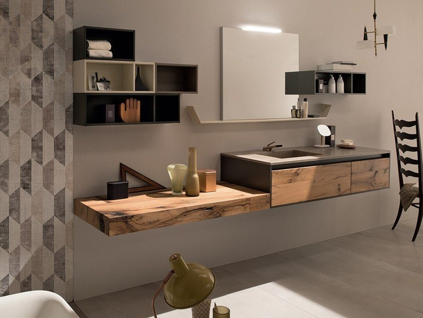 Rab Arredo Bagno.Wall Mounted Vanity Unit 24 Quercia By Rab Arredobagno