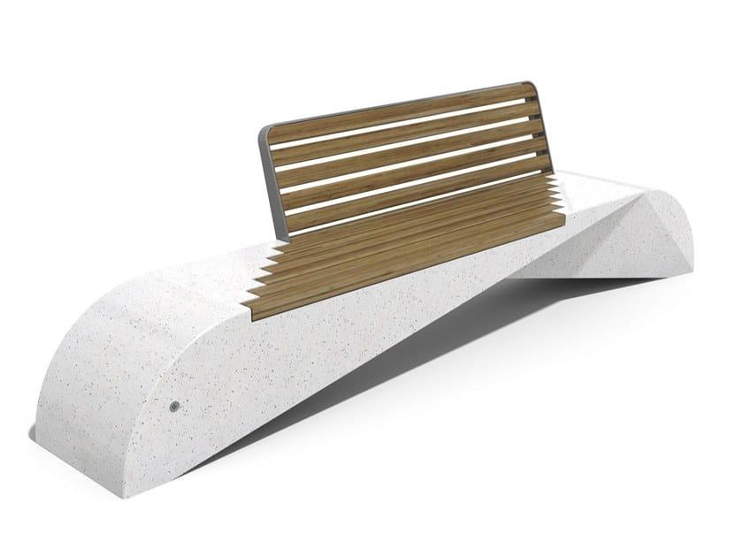 Panchina in calcestruzzo e legno con schienale 248   Panchina in calcestruzzo by ENCHO ENCHEV - ETE