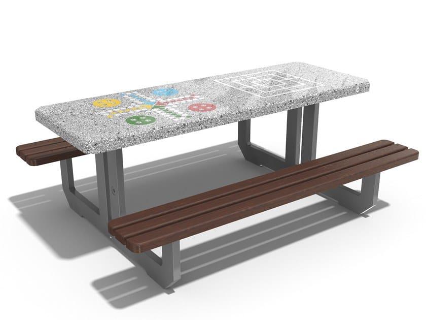 Tavolo per spazi pubblici / tavolo da gioco in calcestruzzo fibrorinforzato 250 | Tavolo da picnic by ENCHO ENCHEV - ETE
