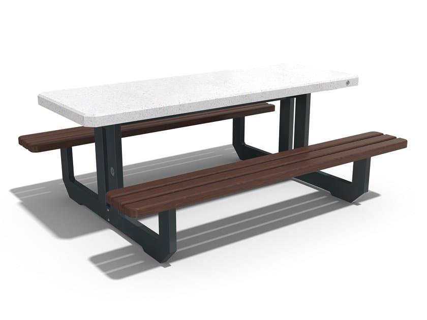 Tavolo da picnic rettangolare in calcestruzzo con panchine integrate 251 | Tavolo da picnic by ENCHO ENCHEV - ETE
