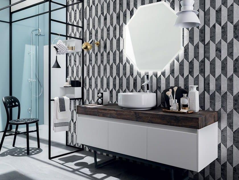 Floor-standing vanity unit with drawers 26 ABETE NERO By RAB Arredobagno