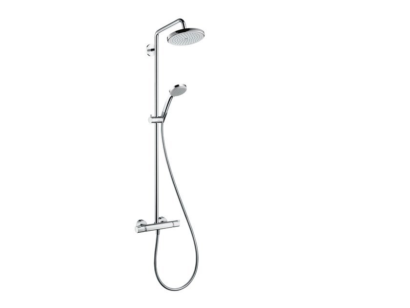 Wall-mounted thermostatic chromed brass shower panel CROMA | Shower panel by hansgrohe