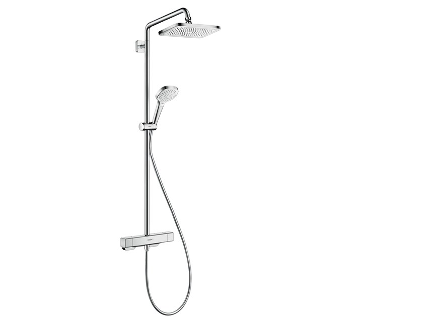 Wall-mounted thermostatic chromed brass shower panel CROMA E   Shower panel by hansgrohe
