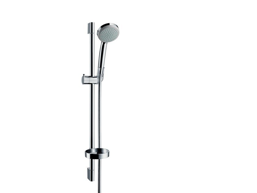 Chromed brass shower wallbar with hand shower CROMA 100 | Shower wallbar by hansgrohe