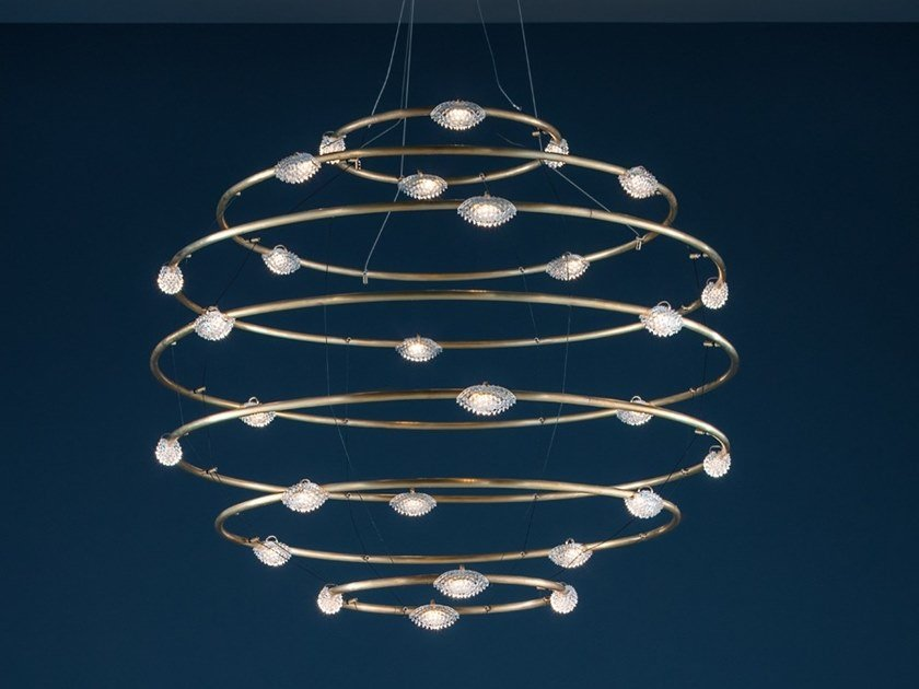 LED brass pendant lamp 28 PETITS BIJOUX by Catellani & Smith
