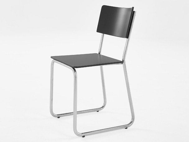 Sled base stainless steel and wood restaurant chair 284 | Chair by Adico