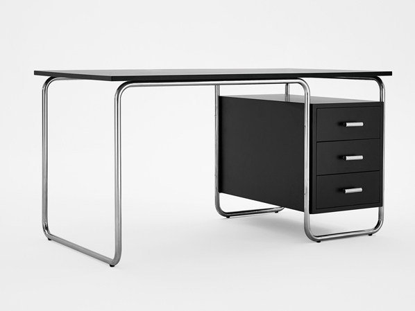 Rectangular stainless steel and wood writing desk with drawers 296 | Writing desk by Adico
