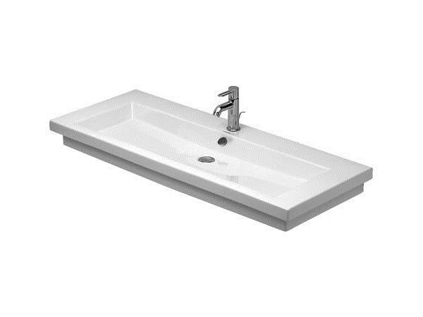 Rectangular ceramic washbasin with overflow 2ND FLOOR | Rectangular washbasin by Duravit