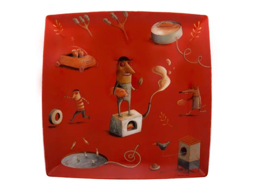 Square porcelain plate 2i - by João Vaz de Carvalho by Vista Alegre