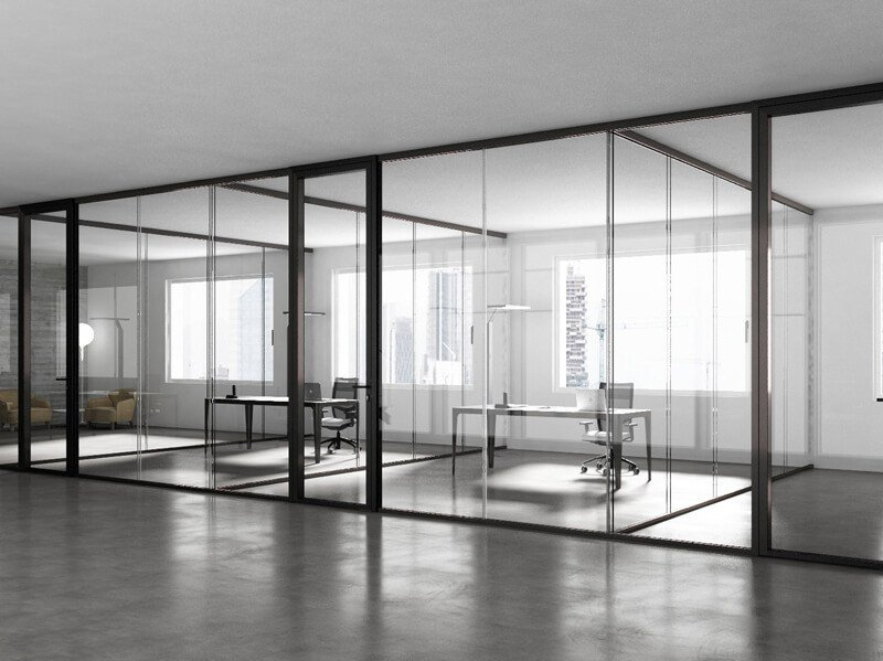 Parete mobile in vetro temperato per ufficio 3 6 9 estel for Pareti per ufficio